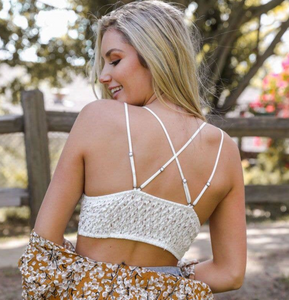 crochet lace bralette in white