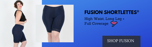 Fusion Shortlettes slips shorts with a high waist and long leg for thigh chafing protection plus size