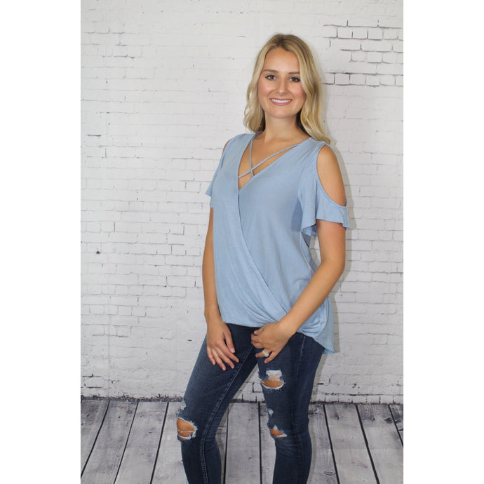 Open Shoulder Crossed Top