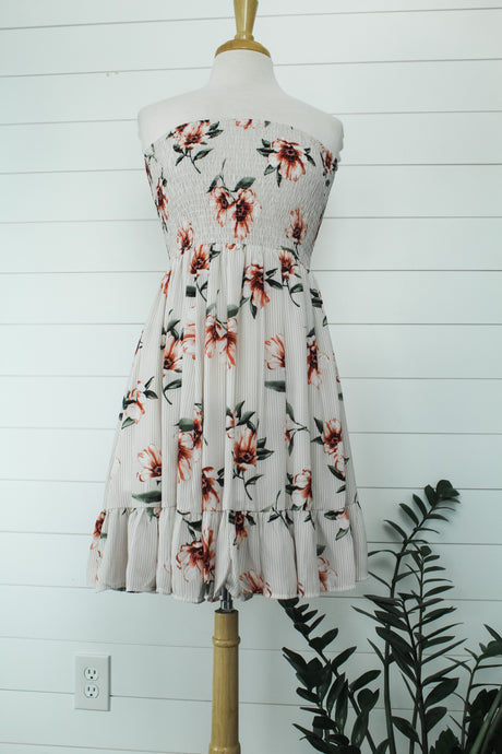 Striped Floral Print Tube Dress