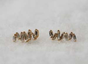 Staggered Baguette Studs