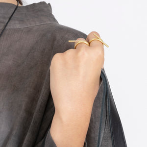 TWISTED ASYMMETRICAL GOLD RING