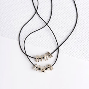 CRISS CROSS DOUBLE SILVER NECKLACE