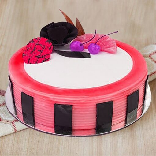 pink-color-strawberry-eggless-cake