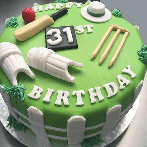 round-shape-cricket-style-theme-birthday-cake