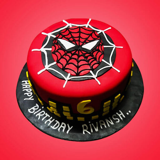 red-spiderman-face-design-on-round-shape-fondant-cake