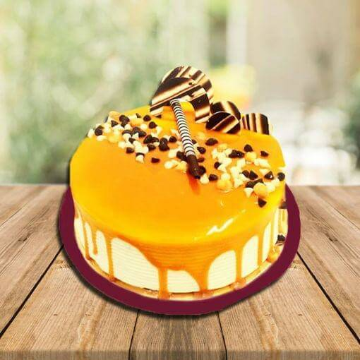 butterscotch-round-shape-cake-yellow-color