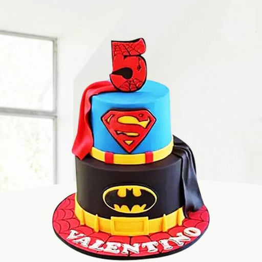 round-shape-batman-cake-at-bottom-superman-round-cake-at-top