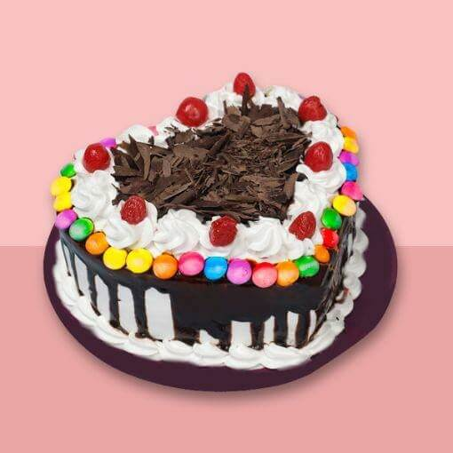 Heart Shape Black Forest Gem Cake