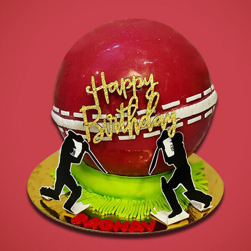 cricket-theme-ball-shape-pinata-cake-with-hammer