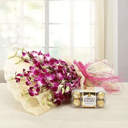 purple-orchids-bouquet-with-ferrero-rocher