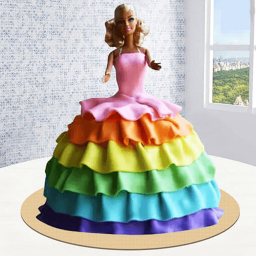 colourful-barbie-doll-cake