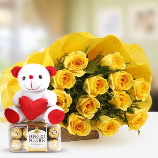 yellow-roses-bunch-with-teddy-bear-ferrero-rocher
