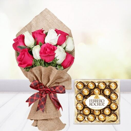 red-and-white-roses-bouquet-with-ferrero-rocher