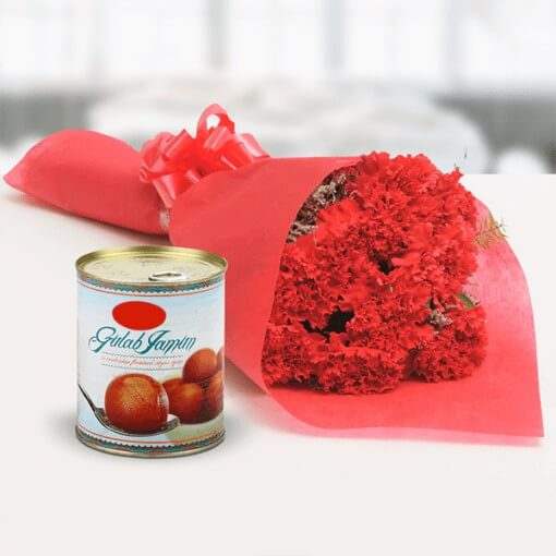 red-color-flower-bouquet-with-gulab-jamun-in-can