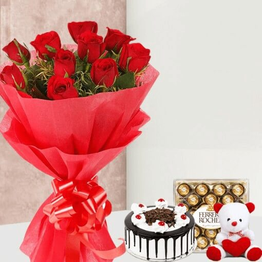 red-roses-bouquet-with-round-chocolate-cake-ferrero-rocher-teddybear-combo