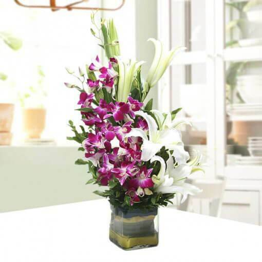 bunch-of-purple-orchids-and-lilies