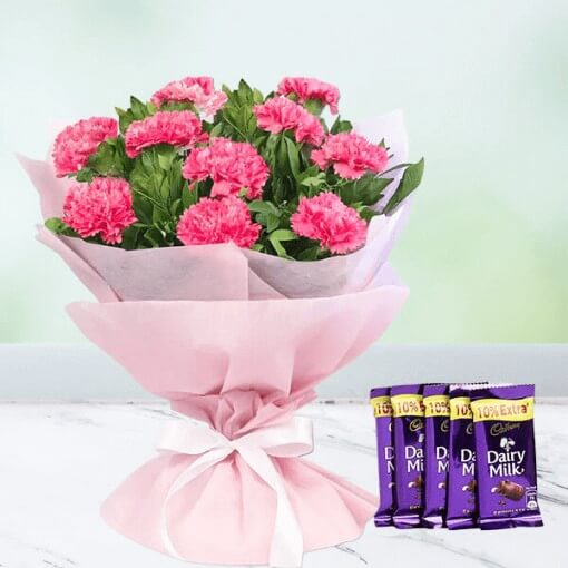 pink-carnation-with-cadbury-chocolate-cake-plaza