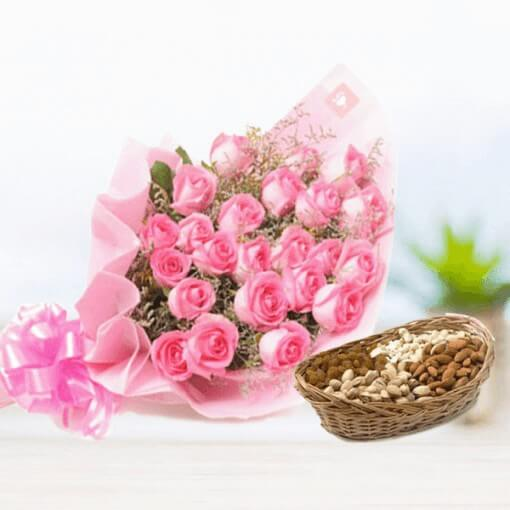 pink-roses-with-dryfruits-cake-plaza