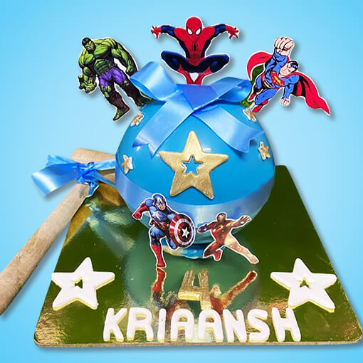 chocolate-pinata-cake-with-hammer-on-superhero-theme