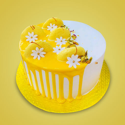 yellow-color-rasmalai-cake-round-shaped