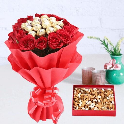 Dry Fruits with Rocher N Roses Bouquet