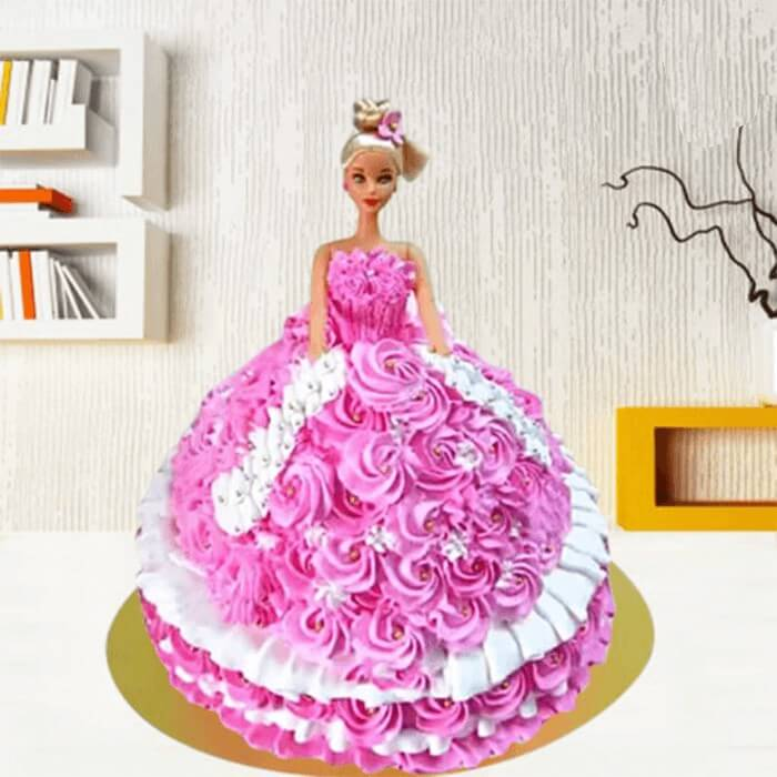 doll-shape-round-pink-color-doll-cake