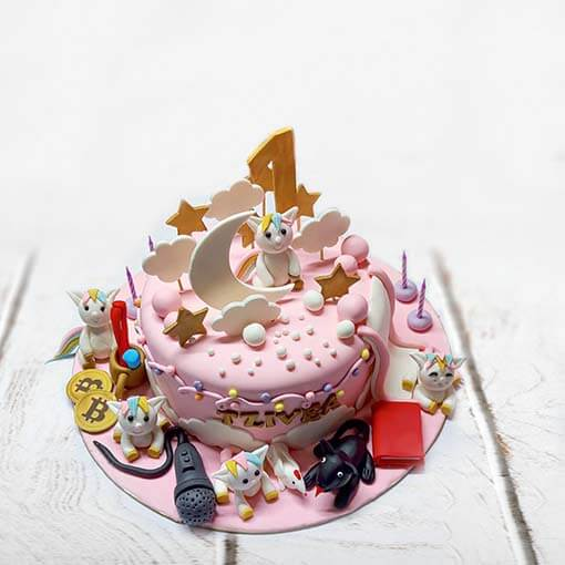 Two Tier Truffle Unicorn Cake