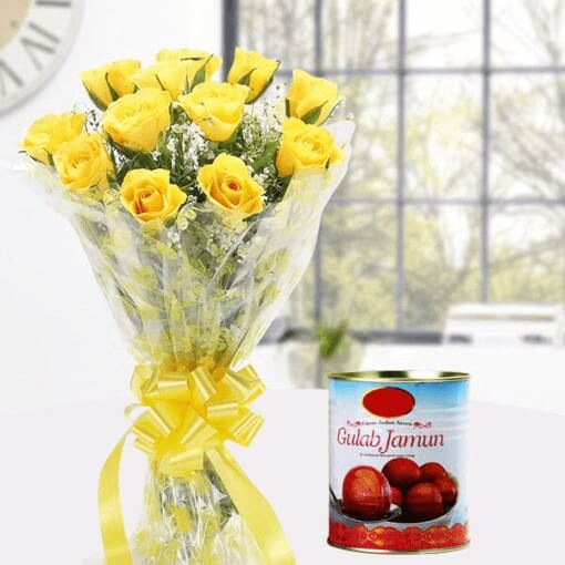 yellow-roses-with-gulab-jamun-cake-plaza