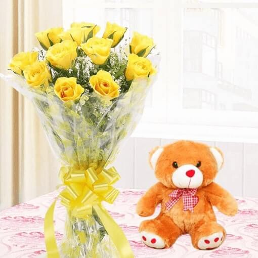 yellow-roses-with-teddy-cake-plaza
