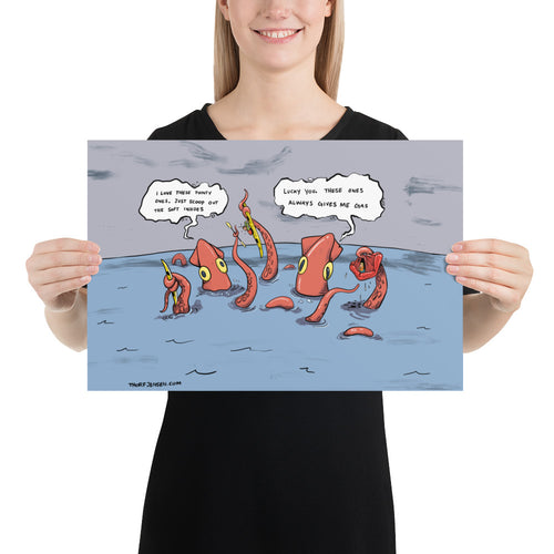 Kayaker Caught by Kraken - Poster 12x18 inch
