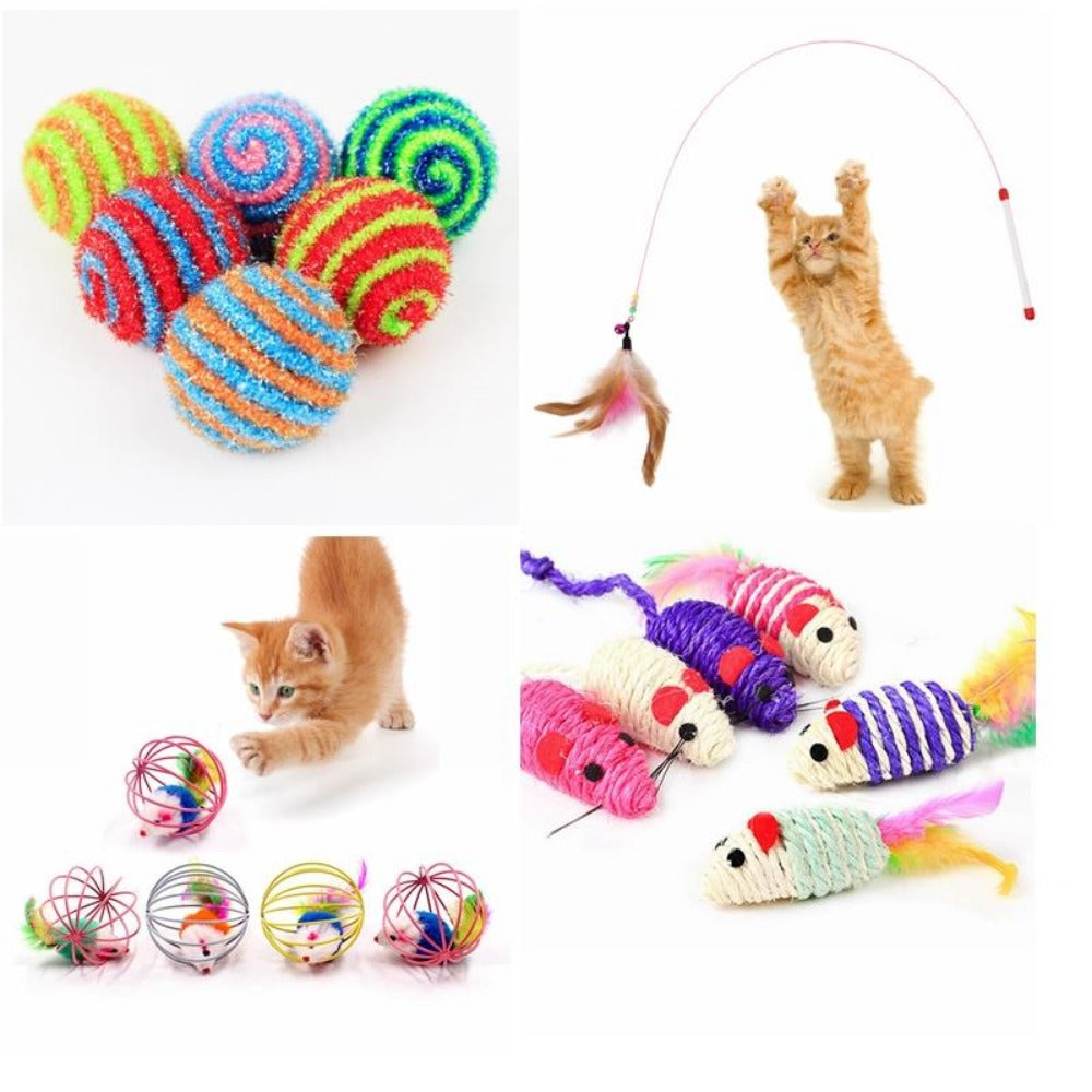 Cat Feather Toy Teaser Multi Color Plush Feather Goods Cats Pets Toy ✈️ Free Shipping