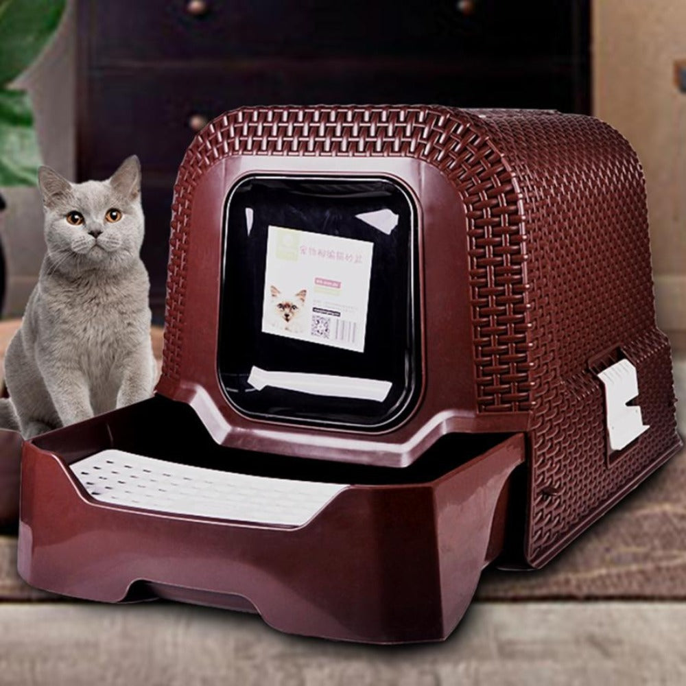 Cat Litter Boxes with Drawer Rattan Large Pet Cats Toilet