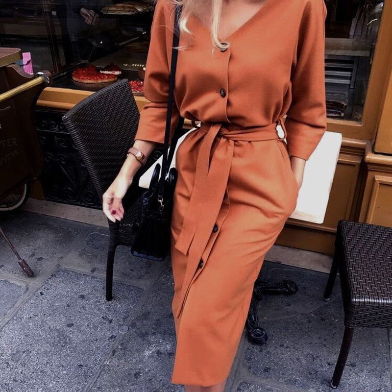 Autumn Long Sleeve Women Dress Ladies Casual Fashion Dress ✈️ Free Shipping