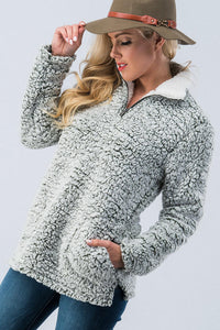 Fleece Half  Zip with Pockets-Grey