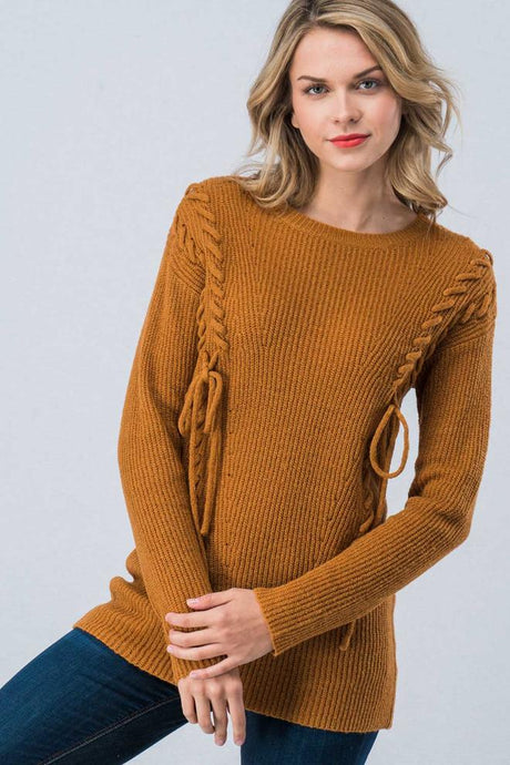 String Bow Laced Body Side Trim Mustard