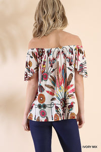 Feather Off The Shoulder Top