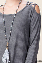 Criss Cross Shoulders Charcoal