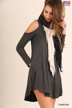 Charcoal Pocket Cold Shoulder Dress