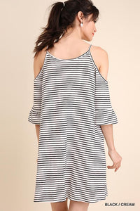 Striped Cold Shoulder Dress with Pockets