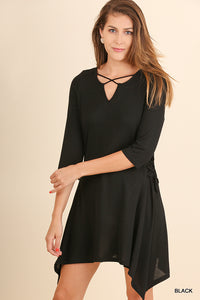 Side Drawstrings Dress
