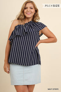 One Shoulder Ruffle Navy Stripe-Plus