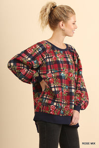 Oversized Plaid Floral Sweatshirt