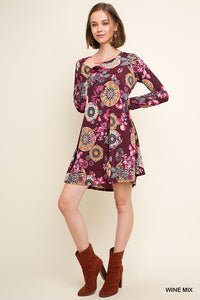 Wine Mix Floral Dress