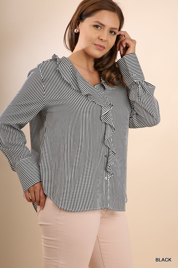 Striped Button Up-Plus