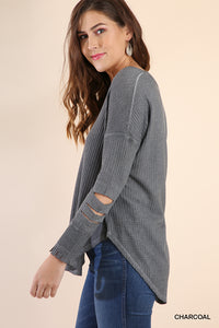 Waffle Charcoal V Neck Thermal