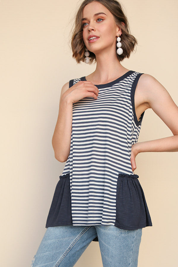 In the Navy Striped Tank