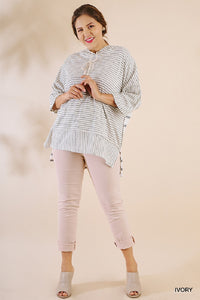 Oversized Kangaroo Pocket Striped Tunic- Plus