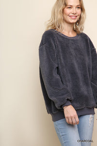 Fuzzy Charcoal Pullover