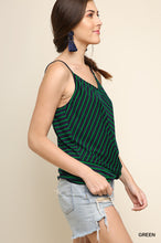 Green Gathered Stripe Tank